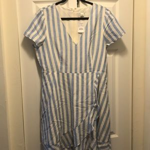 NWT J.Crew Factory Striped Faux Wrap Dress